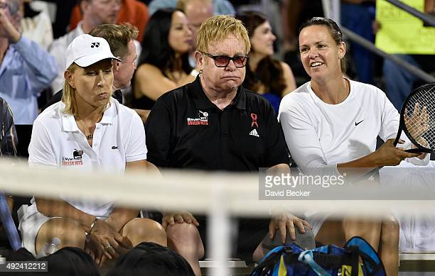 Tennis player Martina Navratilova Sir Elton John and tennis player Lindsay Davenport participate at the Mylan World TeamTennis Smash Hits charity...