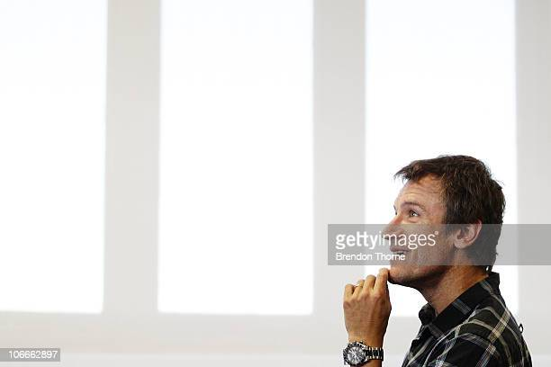 Tennis player Mats Wilander of Sweden looks on during a media session for the Champions Downunder Tournament at Events NSW on November 10 2010 in...