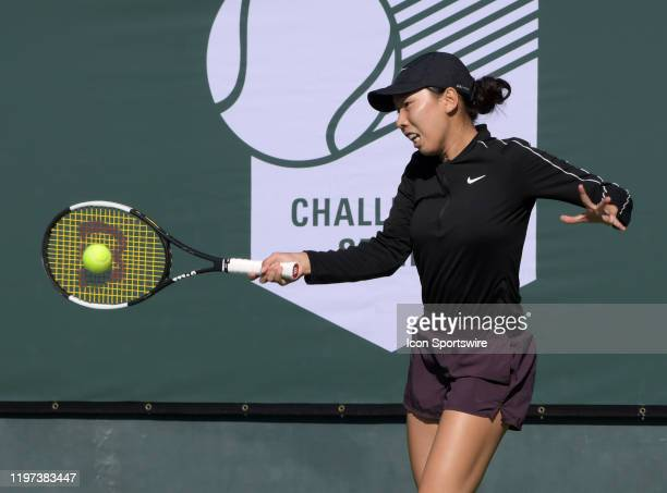 Tennis player Mayo Hibi returns a shot in a match during the Oracle Challenger Series played on January 29, 2020 at the Newport Beach Tennis Club in...