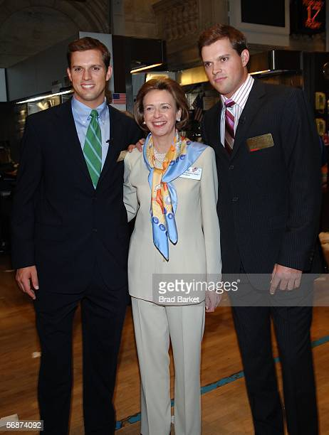 Tennis player Mike Bryan CoPresident of the New York Stock Exchange Catherine Kinney and tennis player Bob Bryan walk on the trading floors after the...