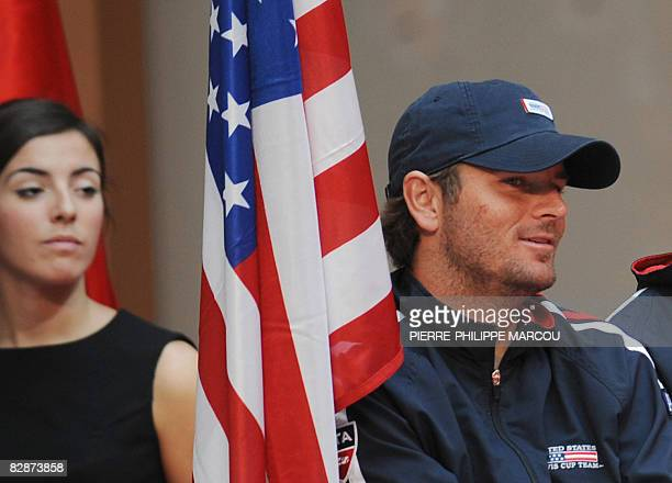 US tennis player Mike Bryan listens during the draw of the semifinal of the Davis Cup draw in Madrid on September 18 2008 The US tennis team will...