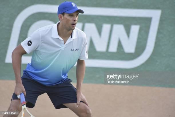 Tennis player Mike Bryan plays tennis at 13th Annual Desert Smash benefitting St Jude Children's Research Hospital on March 7 2017 in Rancho Mirage...