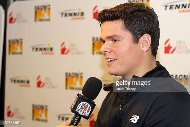 Tennis Player Milos Raonic attends The 2nd Annual Raonic Race For Kids Fundraiser Benefitting The Milos Raonic Foundation on November 19 2013 in...