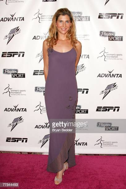 Tennis player Monica Seles arrives on the Playtex Sport Pink Carpet at the Women's Sports Foundation's 28th Annual Salute to Women in Sports at the...