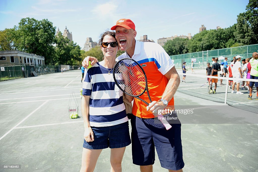 LACOSTE And City Parks Foundation Host Tennis Clinic In Central Park : News Photo