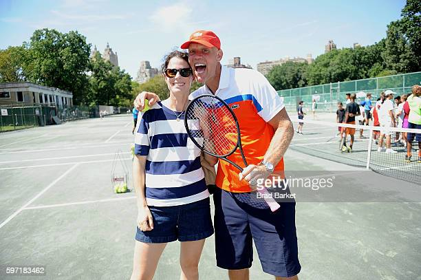 Tennis Player Nathalie Dechy and Murphy Jensen attend LACOSTE And City Parks Foundation Host Tennis Clinic In Central Park at Central Park Tennis...