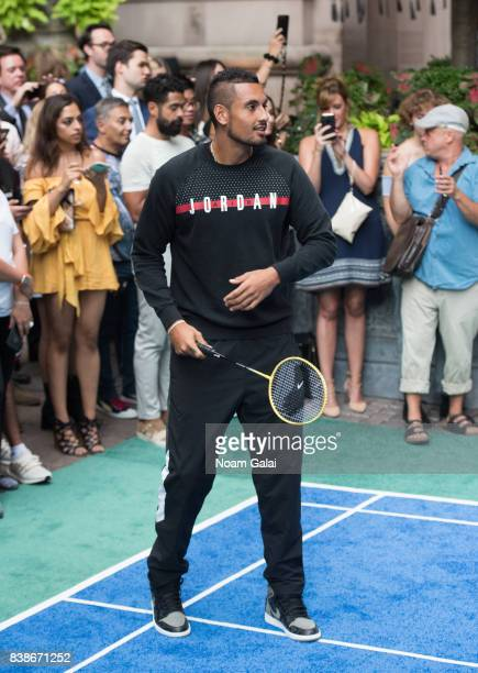 Tennis player Nick Kyrgios plays badminton during the 2017 Lotte New York Palace Invitational at Lotte New York Palace on August 24 2017 in New York...
