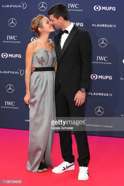 Tennis player Novak Djokovic and his wife Jelena Ristic during the Laureus World Sports Awards 2019 at Sporting Club on February 18, 2019 in Monaco,...