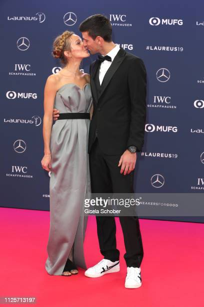 Tennis player Novak Djokovic and his wife Jelena Ristic during the Laureus World Sports Awards 2019 at Sporting Club on February 18 2019 in Monaco...