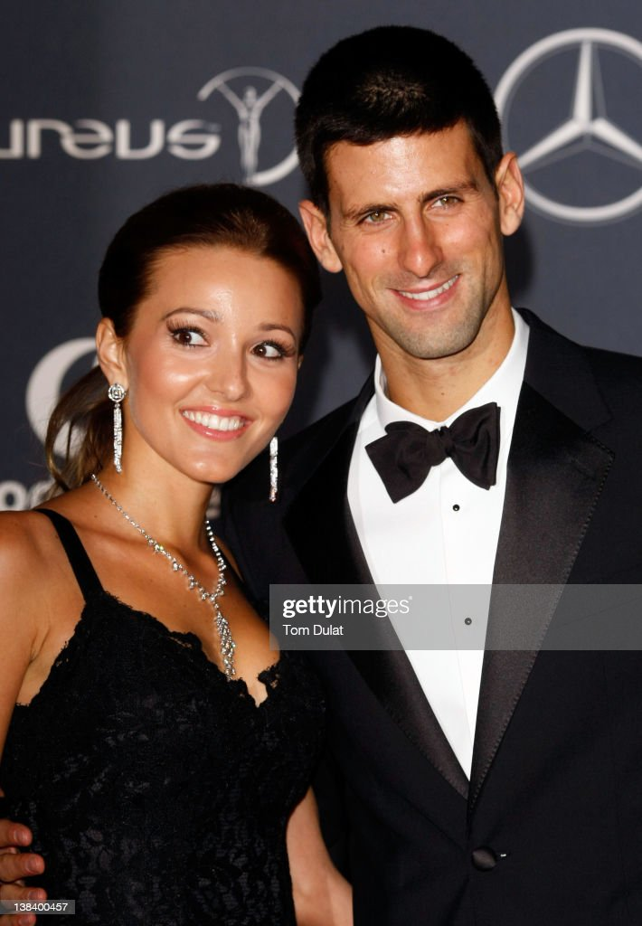 Tennis Player Novak Djokovic and Jelena Ristic attend the 2012 Laureus World Sports Awards at Central Hall Westminster on February 6, 2012 in London, England.