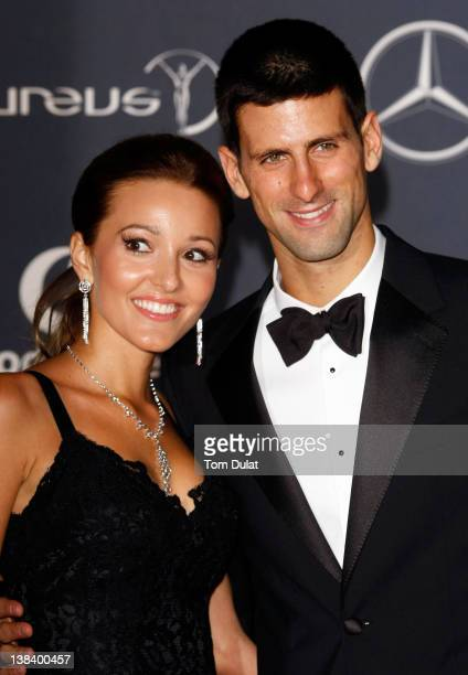 Tennis Player Novak Djokovic and Jelena Ristic attend the 2012 Laureus World Sports Awards at Central Hall Westminster on February 6 2012 in London...