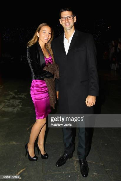 Tennis player Novak Djokovic and Jelena Ristic attend the Laureus Welcome Party as part of the Laureus World Sports Awards 2012 at the OXO Tower on...