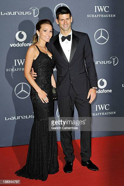 Tennis Player Novak Djokovic and Jelena Ristic attends the 2012 Laureus World Sports Awards at Central Hall Westminster on February 6 2012 in London...
