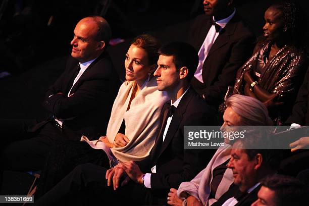 Tennis Player Novak Djokovic and Jelena Ristic in the audience during the 2012 Laureus World Sports Awards at Central Hall Westminster on February 6...