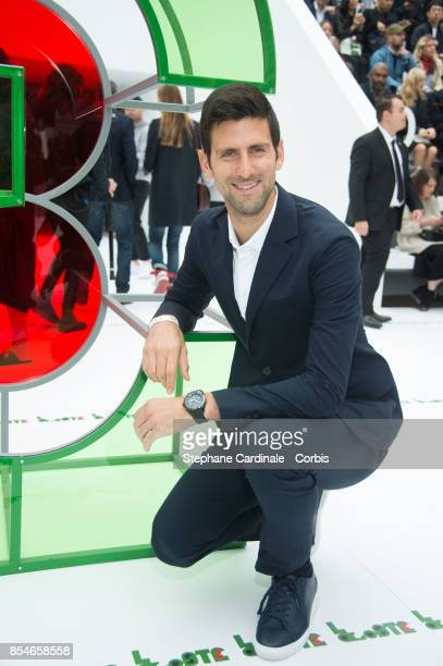 Tennis Player Novak Djokovic attends the Lacoste show as part of the Paris Fashion Week Womenswear Spring/Summer 2018 at on September 27 2017 in...