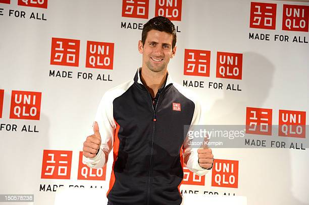 Tennis player Novak Djokovic attends the Made For All Brand Collection Launch at UNIQLO New York 5th Avenue Global Flagship Store on August 22 2012...