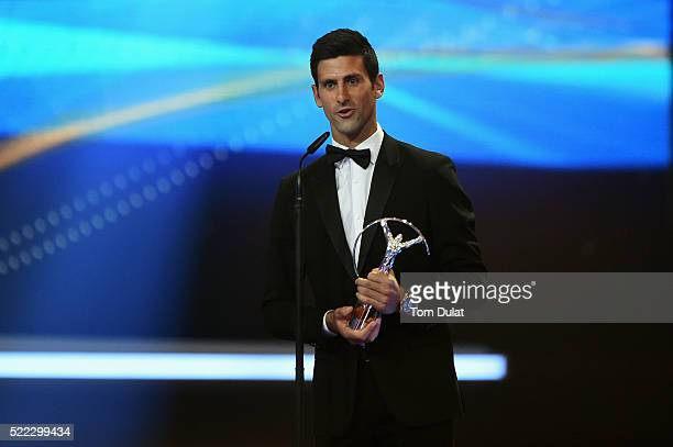 Tennis player Novak Djokovic of Serbia accepts his Laureus World Sportsman of the Year trophy during the 2016 Laureus World Sports Awards at the...