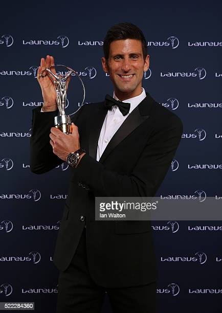 Tennis player Novak Djokovic of Serbia poses with his Laureus World Sportsman of the Year trophy at the Messe Berlin on April 18 2016 in Berlin...