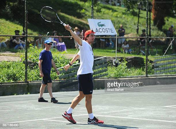 Tennis Player Pablo Cuevas attends LACOSTE And City Parks Foundation Host Tennis Clinic In Central Park at Central Park Tennis Center on August 28...