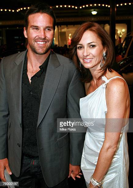 Tennis player Pat Rafter and wife Lara Feltham attend the Sydney premiere of The Bourne Ultimatum at the State Theatre on August 7 2007 in Sydney...