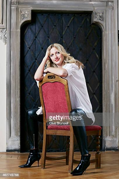 Tennis player Petra Kvitova is photographed on December 17 2014 at the town hall in Olomouc Czech Republic Blouse designed by Klara Nademlynska
