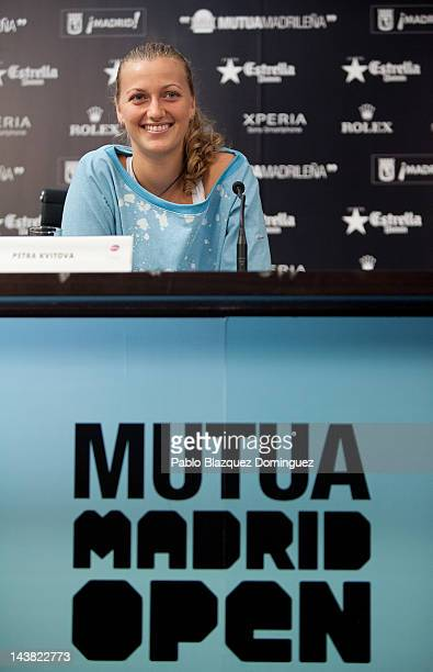 Tennis Player Petra Kvitova of the Czech Republic attends a press conference at the WTA AllAccess Hour during the Mutua Madrilena Madrid Open tennis...