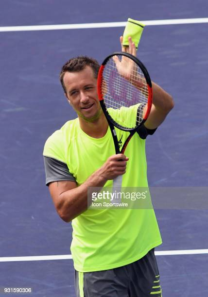 ATP tennis player Philipp Kohlschreiber reacts after defeating Marin Cilic in a match played at the BNP Paribas Open on March 13 2018 at the Indian...