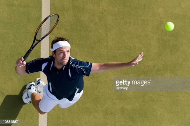 tennis player - serving sport stock pictures, royalty-free photos & images