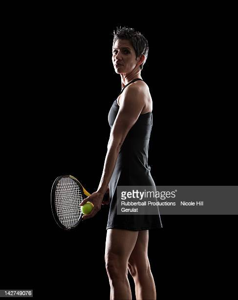 tennis player - studio shot stockfoto's en -beelden
