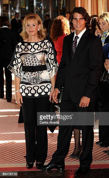 Tennis player Rafael Nadal and his mother arrive to an audence with Prince Felipe of Spain before Prince of Asturias Awards ceremony on October 24...