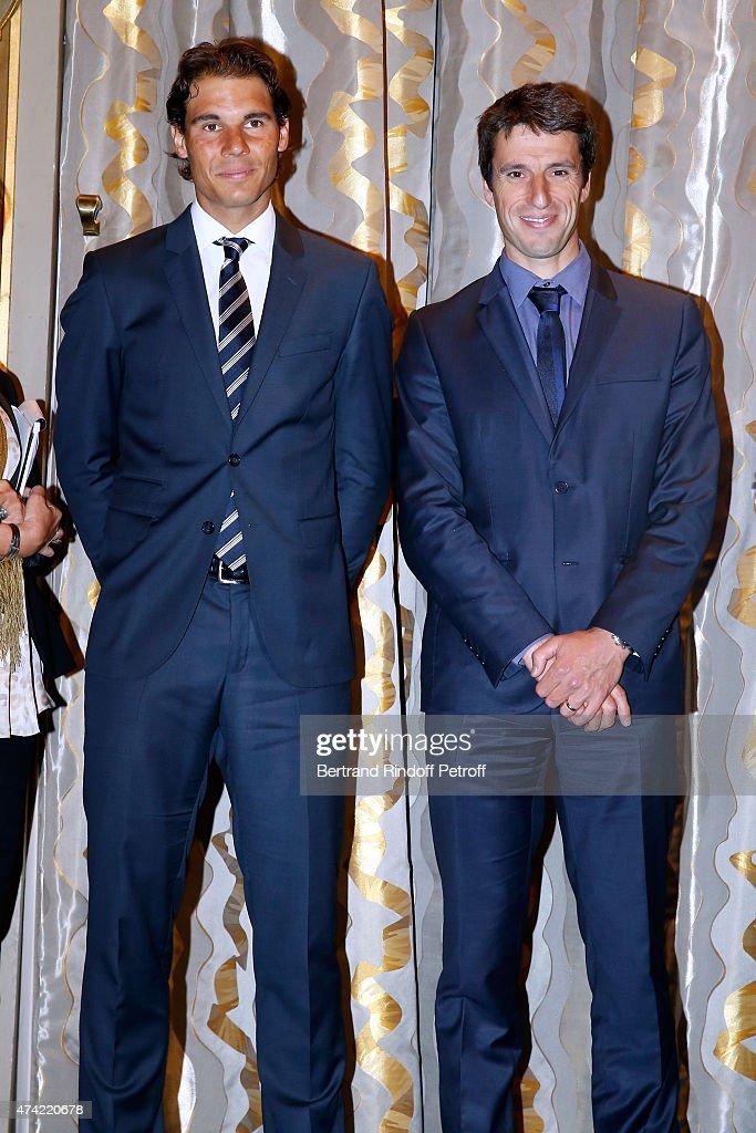 Tennis Player Rafael Nadal and Member of the International Olympic Committee Tony Estanguet attend Mayor of Paris Anne Hidalgo Awards the 'Grand Vermeil' Medal to Rafael Nadal at Mairie de Paris on May 21, 2015 in Paris, France.