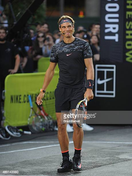 Tennis player Rafael Nadal attends Nike's 'NYC Street Tennis' Event on August 24 2015 in New York City