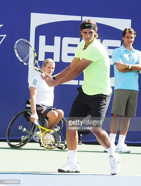 Tennis player Rafael Nadal attends the 2010 Arthur Ashe Kids' Day at the USTA Billie Jean King National Tennis Center on August 28 2010 in the Queens...