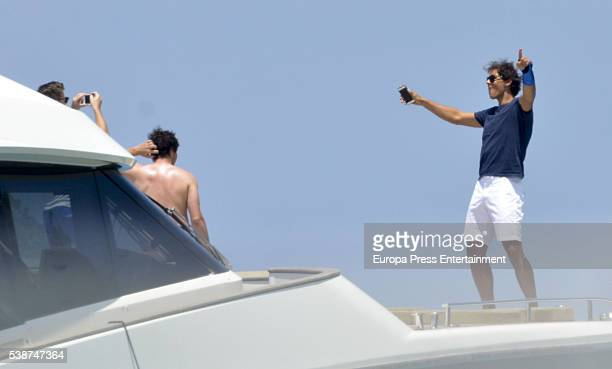 Tennis player Rafael Nadal celebrates his 30th birthday on his new yacht on June 4 2016 in Ibiza Spain