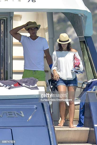 Tennis player Rafael Nadal celebrates his 30th birthday with his girlfriend Xisca Perello on his new yacht on June 4, 2016 in Ibiza, Spain.