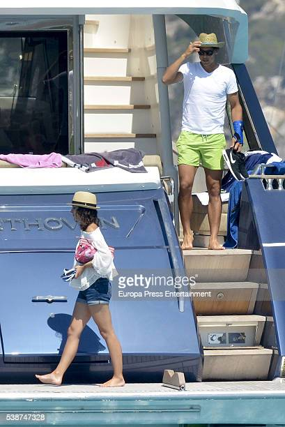Tennis player Rafael Nadal celebrates his 30th birthday with his girlfriend Xisca Perello on his new yacht on June 4 2016 in Ibiza Spain