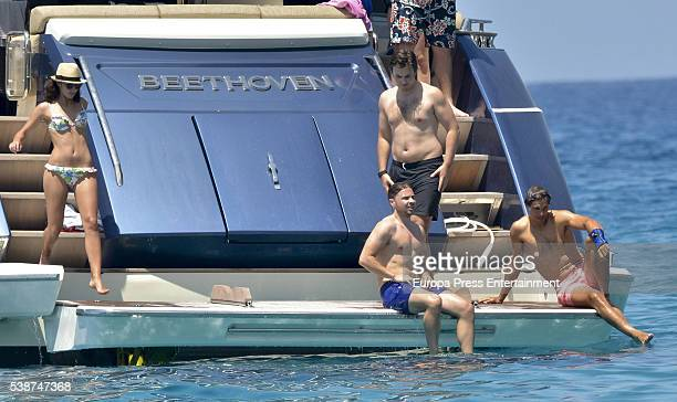 Tennis player Rafael Nadal celebrates his 30th birthday with his girlfriend Xisca Perello and friends on his new yacht on June 4 2016 in Ibiza Spain