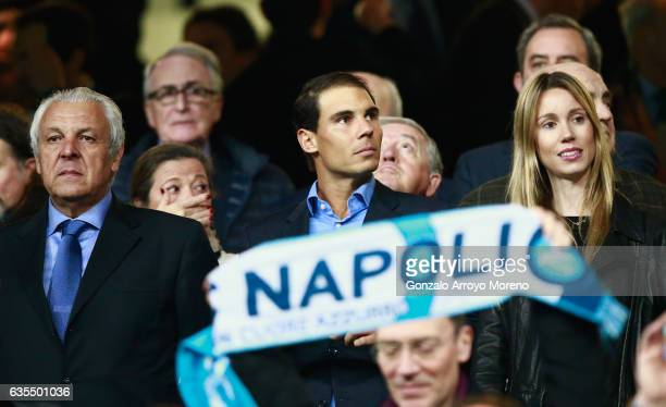 Tennis player Rafael Nadal father Sebastian Nadal and sister Maria Isabel Nadal look on from the stand prior to the UEFA Champions League Round of 16...