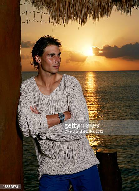 Tennis player Rafael Nadal is photographed on February 21 2013 in Cozumel Mexico Credits Shot on location at Hotel Resort Secrets sweater by Zadig...