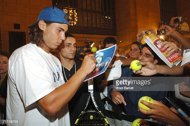 Tennis player Rafael Nadal of Spain arrives at the Grand Slam in Grand Central event on August 25 2006 in Vanderbilt Hall of Grand Central Terminal...