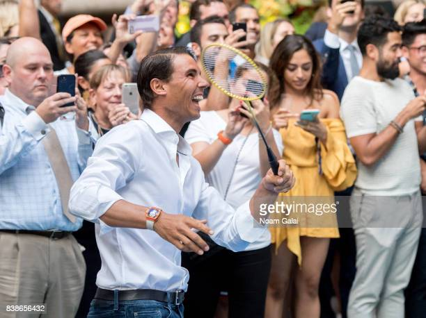 Tennis player Rafael Nadal plays badminton during the 2017 Lotte New York Palace Invitational at Lotte New York Palace on August 24 2017 in New York...