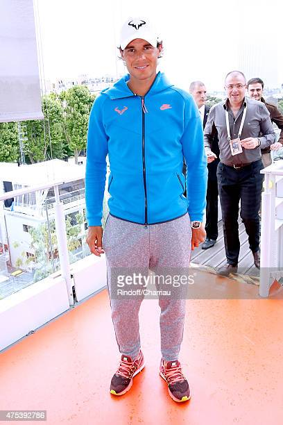 Tennis Player Rafael Nadal poses at France Television french chanel studio during the 2015 Roland Garros French Tennis Open - Day Eight, on May 31,...
