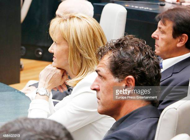 Tennis player Rafael Nadal's mother Ana Maria Parera uncle Miguel Angel Nadal and father Sebastian Nadal attend Cibeles Palace where Nadal will be...