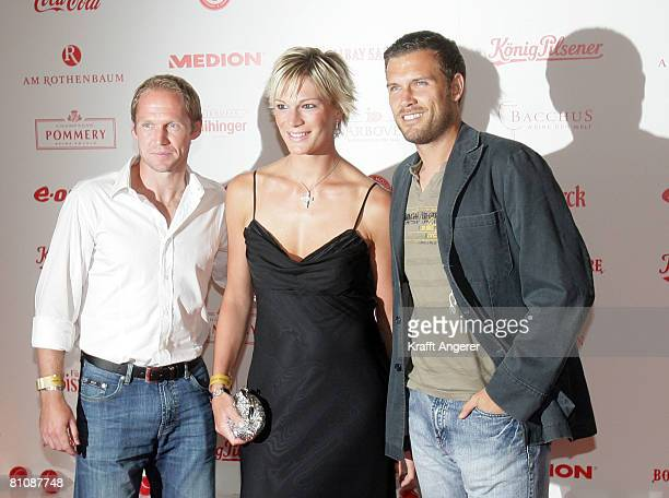 Tennis player Rainer Schuettler skier Maria Riesch and tennis player Alexander Waske attend the ATP Players Night in the Copper House on May 14 2008...