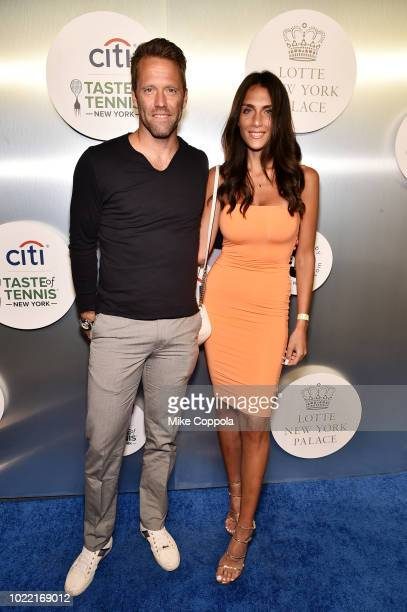 Tennis player Robert Lindstedt and Tina Corinteli attend the Citi Taste Of Tennis gala on August 23, 2018 in New York City.