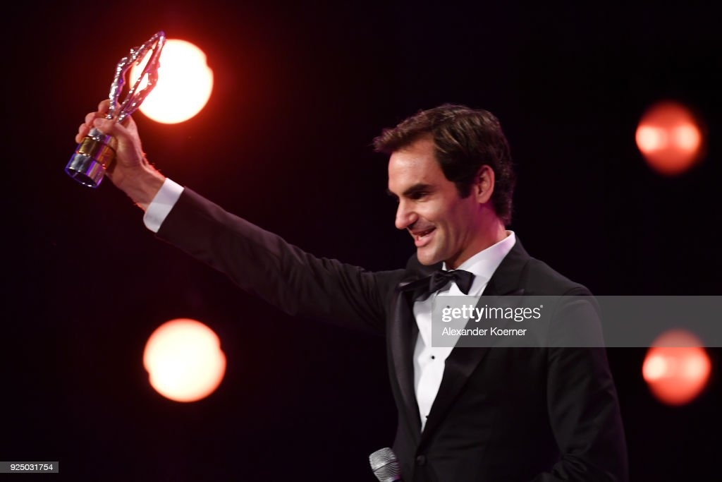 Tennis player Roger Federer accepts the Laureus World Comeback of the Year during the 2018 Laureus World Sports Awards show at Salle des Etoiles, Sporting Monte-Carlo on February 27, 2018 in Monaco, Monaco.