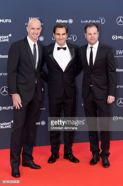 Tennis player Roger Federer and guests attend the 2018 Laureus World Sports Awards at Salle des Etoiles Sporting MonteCarlo on February 27 2018 in...