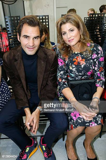 Tennis player Roger Federer and his wife Mirka Federer attend the Louis Vuitton show as part of the Paris Fashion Week Womenswear Spring/Summer 2017...