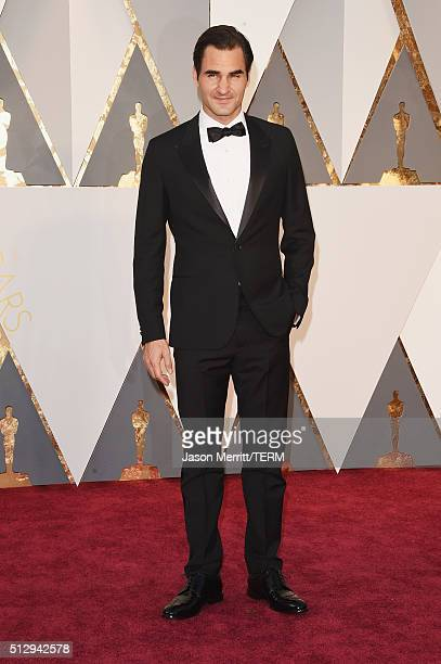 Tennis player Roger Federer attends the 88th Annual Academy Awards at Hollywood Highland Center on February 28 2016 in Hollywood California