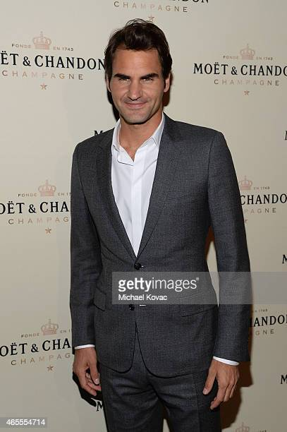 Tennis player Roger Federer attends the Moet Chandon toast to honor brand ambassador Roger Federer's historymaking 1000th career win at Four Seasons...